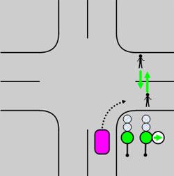 Не повернуть направо из-за потока пешеходов